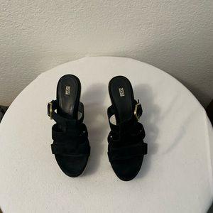 UGG HEDY WEDGE HEEL BLACK SANDALS Women's Size 9.5